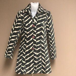 3 SISTERS Tunic Dress Coat Zebra Animal Print CHIC